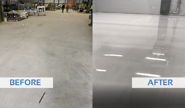 before and after of hemp facility floor